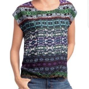 CABI | Tribal Print Covet Short Sleeve Blouse M